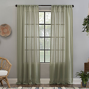 "Clean Window Crushed Texture Anti-Dust Sheer Linen Blend 52"" x 84"" Celadon Green Curtain Panel, Celadon Green, large"