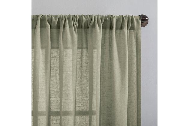 "Clean Window Crushed Texture Anti-Dust Sheer Linen Blend 52"" x 84"" Celadon Green Curtain Panel, Celadon Green, large"