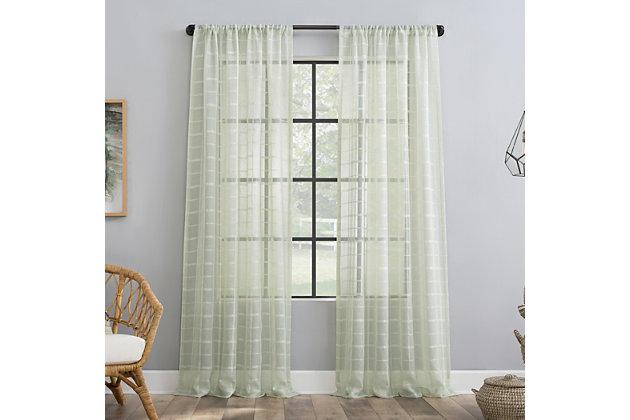 "Clean Window Windowpane Plaid Anti-Dust Sheer 50"" x 84"" Mint Curtain Panel, Mint, large"