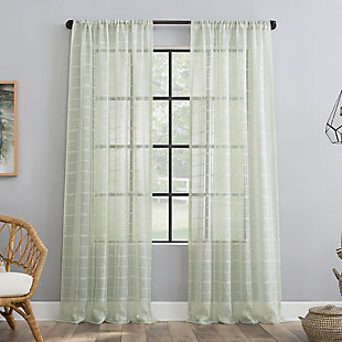 "Clean Window Windowpane Plaid Anti-Dust Sheer 50"" x 84"" Mint Curtain Panel, Mint, large"