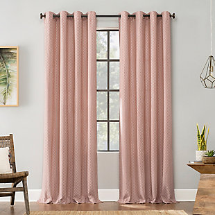 "Archaeo Art Deco Cotton 52"" x 84"" Cedar/White Grommet Top Curtain, Cedar/White, rollover"