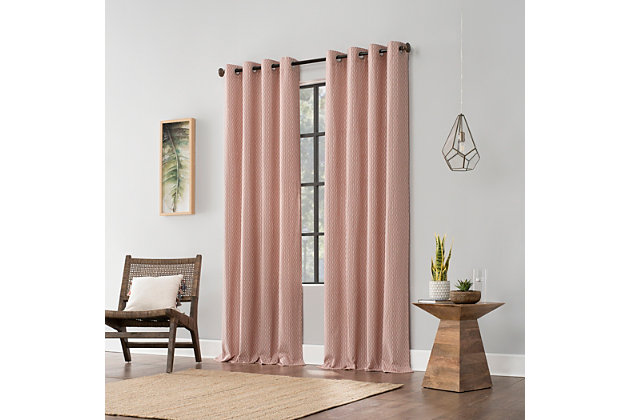 "Archaeo Art Deco Cotton 52"" x 84"" Cedar/White Grommet Top Curtain, Cedar/White, large"