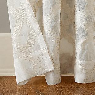 "No. 918 Yvette Trellis Jacquard Sheer 52"" x 63"" Cream Off-White Rod Pocket Curtain Panel, Cream, large"