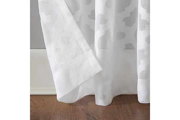 "No. 918 Yvette Trellis Jacquard Sheer 52"" x 84"" White Rod Pocket Curtain Panel, White, large"