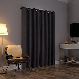"""Sun Zero Tresello Tonal Texture Draft Shield Fleece Insulated 100% Blackout 50"""" x 84"""" Sterling Gray Grommet Curtain Panel, Sterling Gray, large"""