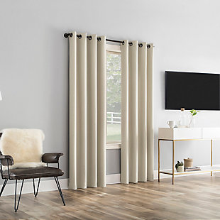 "Sun Zero Tresello Tonal Texture Draft Shield Fleece Insulated 100% Blackout 50"" x 63"" Ecru Grommet Curtain Panel, Ecru, large"