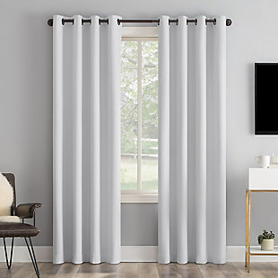 "Sun Zero Tresello Tonal Texture Draft Shield Fleece Insulated 100% Blackout 50"" x 84"" Dove White Grommet Curtain Panel, Dove White, large"