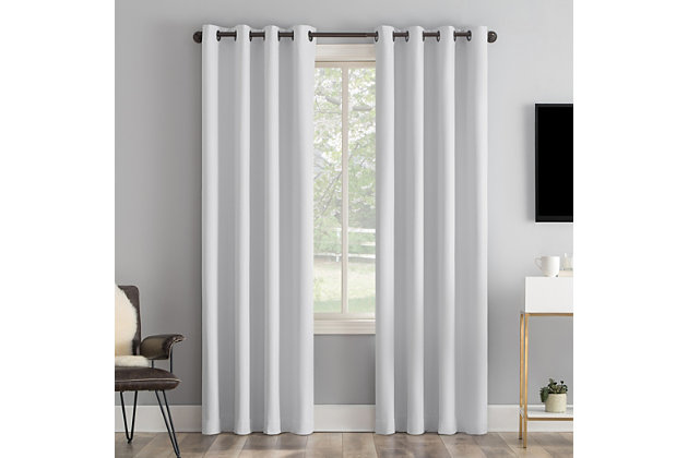 "Sun Zero Tresello Tonal Texture Draft Shield Fleece Insulated 100% Blackout 50"" x 84"" Dove White Grommet Curtain Panel, Dove White, large"
