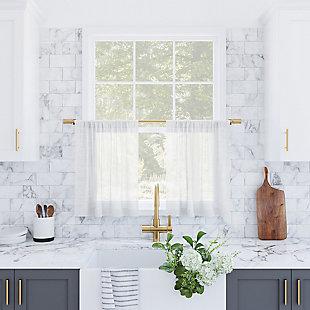 "Archaeo Slub Textured Linen Blend 56"" x 24"" White Cafe Curtain Pair, White, large"