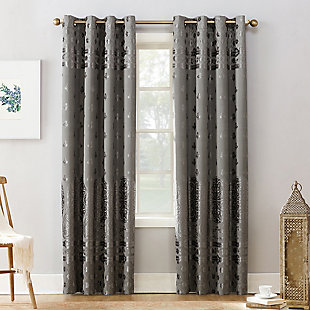 "Sun Zero Elidah Medallion Bonded Velvet Thermal Extreme 100% Blackout 50"" x 84"" Gray Grommet Curtain Panel, Gray, large"