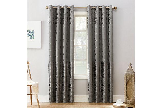 """Sun Zero Elidah Medallion Bonded Velvet Thermal Extreme 100% Blackout 50"""" x 84"""" Gray Grommet Curtain Panel, Gray, large"""