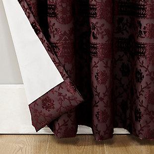 """Sun Zero Elidah Medallion Bonded Velvet Thermal Extreme 100% Blackout 50"""" x 84"""" Merlot Grommet Curtain Panel, Merlot, large"""