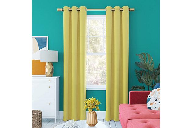 "Sun Zero Harper Bright Vibes 100% Blackout 40"" x 84"" Sunflower Yellow Grommet Curtain Panel, Sunflower Yellow, large"