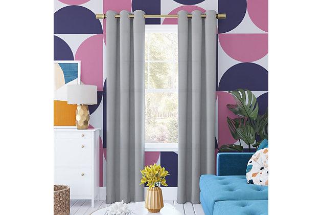 "Sun Zero Harper Bright Vibes 100% Blackout 40"" x 96"" Silver Gray Grommet Curtain Panel, Silver Gray, large"