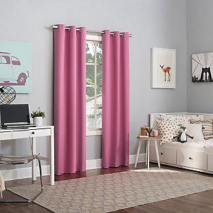 "Sun Zero Harper Bright Vibes 100% Blackout 40"" x 63"" Pink Grommet Curtain Panel, Pink, large"