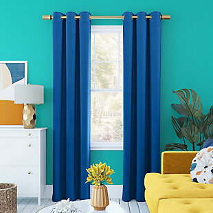 "Sun Zero Harper Bright Vibes 100% Blackout 40"" x 84"" Classic Blue Grommet Curtain Panel, Classic Blue, rollover"