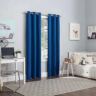 "Sun Zero Harper Bright Vibes 100% Blackout 40"" x 84"" Classic Blue Grommet Curtain Panel, Classic Blue, large"