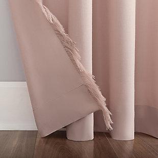 "No. 918 Ruthie Frayed Edge Semi-Sheer 40"" x 84"" Rose Quartz Rod Pocket Curtain Panel, Rose, large"