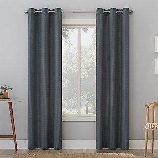 "No. 918 Elgin Contrast Stitch Cotton Blend Semi-Sheer 40"" x 84"" Blue Grommet Curtain Panel, Blue, large"