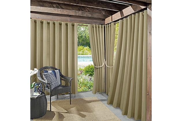"Sun Zero Sailor Indoor/Outdoor UV Protectant Room Darkening 54"" x 84"" Khaki Grommet Curtain Panel, Khaki, large"