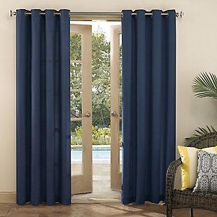 "Sun Zero Sailor Indoor/Outdoor UV Protectant Room Darkening 54"" x 95"" Navy Blue Grommet Curtain Panel, Navy Blue, large"