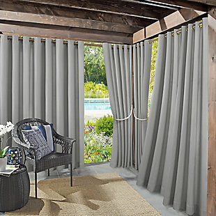 "Sun Zero Sailor Indoor/Outdoor UV Protectant Room Darkening 54"" x 84"" Gray Grommet Curtain Panel, Gray, large"