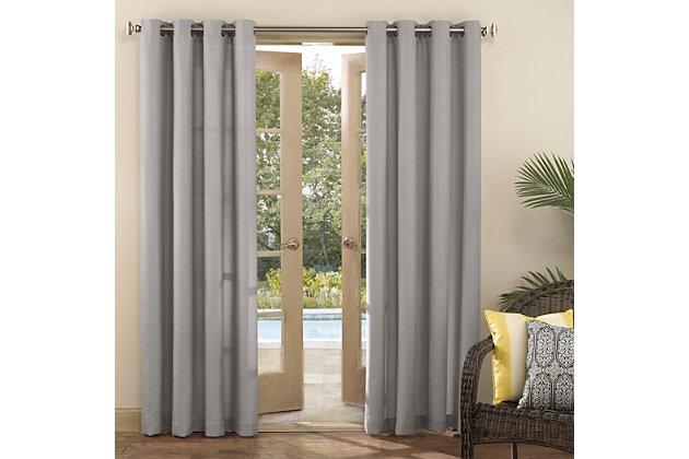 """Sun Zero Sailor Indoor/Outdoor UV Protectant Room Darkening 54"""" x 84"""" Gray Grommet Curtain Panel, Gray, large"""