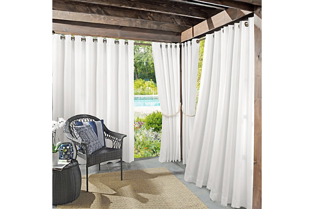 "Sun Zero Sailor Indoor/Outdoor UV Protectant Room Darkening 54"" x 84"" White Grommet Curtain Panel, White, large"