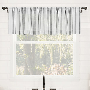 """Clean Window Vintage Stripe Anti-Dust Sheer 50"""" x 14"""" Gray Cafe Curtain Valance, Gray, rollover"""