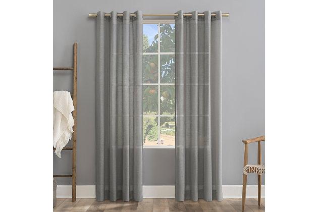 "Archaeo Slub Textured Linen Blend 52"" x 84"" Gray Grommet Top Curtain, Gray, large"