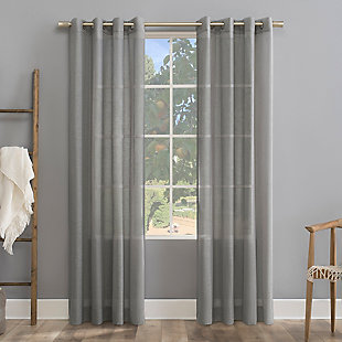 "Archaeo Slub Textured Linen Blend 52"" x 84"" Gray Grommet Top Curtain, Gray, large"