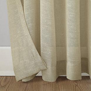 "Archaeo Slub Textured Linen Blend 52"" x 63"" Linen Grommet Top Curtain, Linen, large"