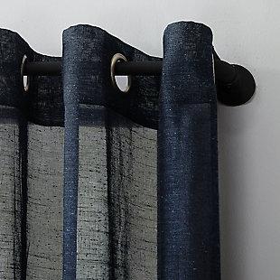 "Archaeo Slub Textured Linen Blend 52"" x 84"" Navy Grommet Top Curtain, Navy, large"