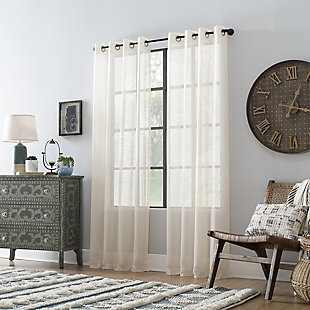 "Archaeo Slub Textured Linen Blend 52"" x 63"" Ivory Grommet Top Curtain, Ivory, large"