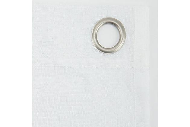 "Archaeo Slub Textured Linen Blend 52"" x 63"" White Grommet Top Curtain, White, large"