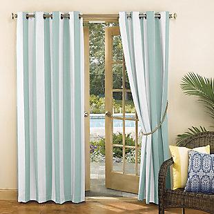 "Sun Zero Valencia Cabana Stripe Indoor/Outdoor UV Protectant Room Darkening 54"" x 108"" Soft Teal Grommet Curtain Panel, Soft Teal, large"