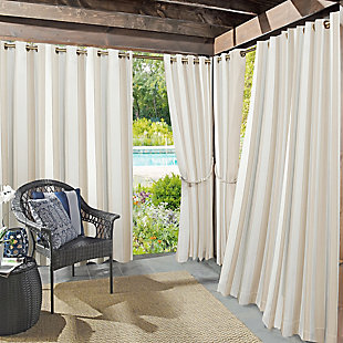 "Sun Zero Valencia Cabana Stripe Indoor/Outdoor UV Protectant Room Darkening 54"" x 84"" Khaki Grommet Curtain Panel, Khaki, large"