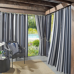 "Sun Zero Valencia Cabana Stripe Indoor/Outdoor UV Protectant Room Darkening 54"" x 84"" Indigo Grommet Curtain Panel, Indigo, rollover"