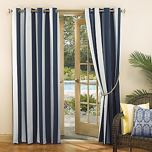 "Sun Zero Valencia Cabana Stripe Indoor/Outdoor UV Protectant Room Darkening 54"" x 84"" Indigo Grommet Curtain Panel, Indigo, large"