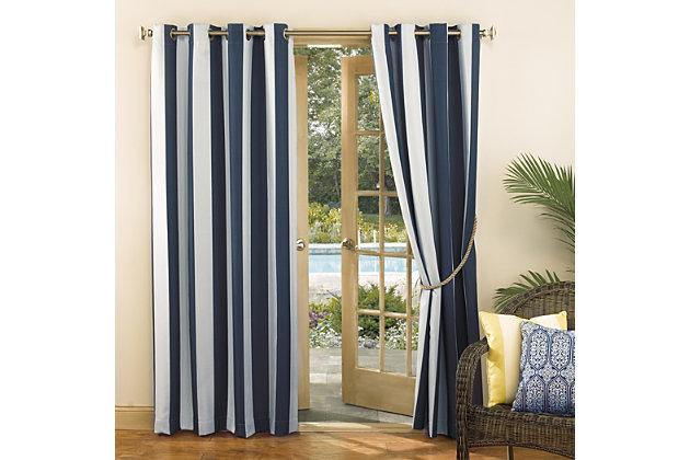 "Sun Zero Valencia Cabana Stripe Indoor/Outdoor UV Protectant Room Darkening 54"" x 84"" Indigo Grommet Curtain Panel, Indigo, large"