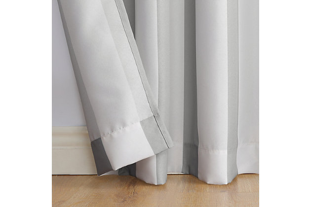 "Sun Zero Valencia Cabana Stripe Indoor/Outdoor UV Protectant Room Darkening 54"" x 84"" Gray Grommet Curtain Panel, Gray, large"