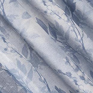 "No. 918 Hilary Watercolor Floral Linen Blend Semi-Sheer 54"" x 84"" Blue Rod Pocket Curtain Panel, Blue, large"