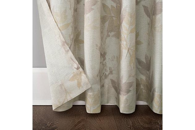 "No. 918 Hilary Watercolor Floral Linen Blend Semi-Sheer 54"" x 84"" Blush Pink Rod Pocket Curtain Panel, Blush, large"