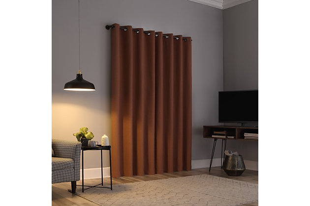 "Sun Zero Cayden Grid Texture Draft Shield Fleece Insulated 100% Blackout 50"" x 63"" Terracotta Orange Grommet Curtain Panel, Terracotta Orange, large"