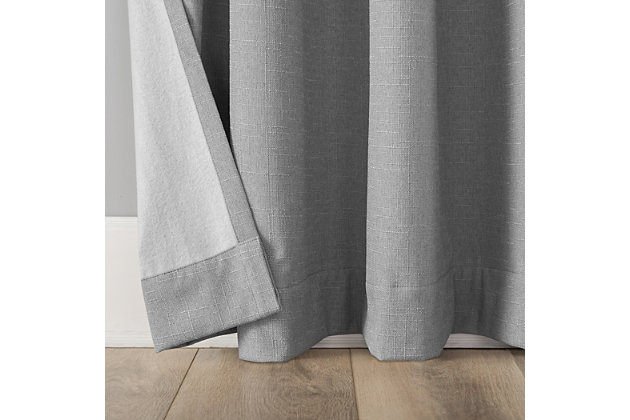 """Sun Zero Cayden Grid Texture Draft Shield Fleece Insulated 100% Blackout 50"""" x 84"""" Sterling Gray Grommet Curtain Panel, Sterling Gray, large"""