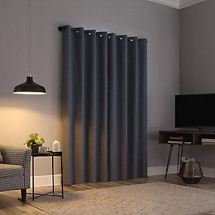 "Sun Zero Cayden Grid Texture Draft Shield Fleece Insulated 100% Blackout 50"" x 63"" Blue Grommet Curtain Panel, Blue, rollover"