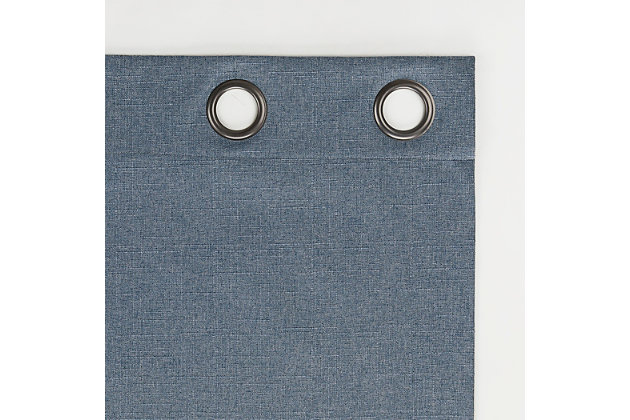 "Sun Zero Cayden Grid Texture Draft Shield Fleece Insulated 100% Blackout 50"" x 63"" Blue Grommet Curtain Panel, Blue, large"