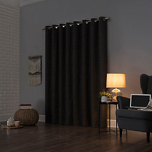 "Sun Zero Kline Burlap Weave Thermal Extreme 100% Blackout 52"" x 84"" Coal Grommet Curtain Panel, Coal, rollover"