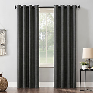 "Sun Zero Kline Burlap Weave Thermal Extreme 100% Blackout 52"" x 84"" Coal Grommet Curtain Panel, Coal, large"