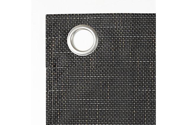 """Sun Zero Kline Burlap Weave Thermal Extreme 100% Blackout 52"""" x 84"""" Coal Grommet Curtain Panel, Coal, large"""